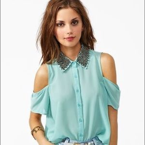 Studded Collar Blouse w/ Cut-Off Shoulders - Small